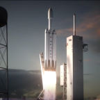 SpaceX released an animation Jan. 27 depicting its Falcon Heavy rocket lifting off from Kennedy's Launch Complex 39A. Credit: SpaceX screenshot