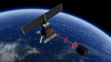 An active debris removal (ADR) spacecraft tracking a satellite using lidar