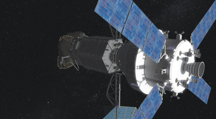 The Orion spacecraft with two crew inside approaches to dock with the Asteroid Redirect Vehicle. Credit: NASA artist's concept