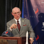 ULA CEO Tory Bruno unveils the company's proposed Vulcan rocket during an April 13 press conference at the Space Symposium in Colorado Springs. Credit: Tom Kimmell for Space Foundation.