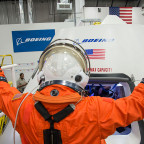 Boeing, which is building the CST-100 capsule to carry astronauts to the ISS, hopes to announce the two-person crew that will on the capsule's 2017 test flight. Credit: Boeing