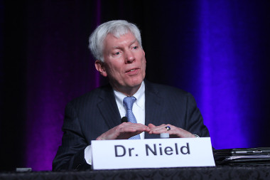 George Nield, FAA associate administrator for space transportation, speaking at the 31st Space Symposium. Credit: Tom Kimmell