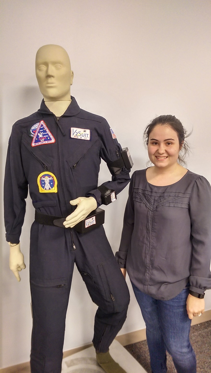 Rebecca Vazquez, an electro-mechanical engineer working on the V2Suit. Credit: SpaceNews/Jonathan Charlton