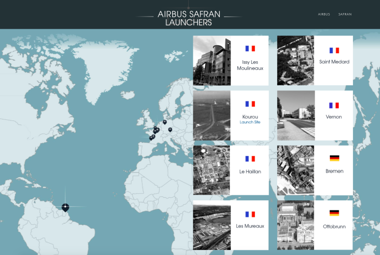 Airbus Safran Launchers' industrial footprint spans France, German and French Guiana in South America. Credit: Airbus Safran Launchers graphic
