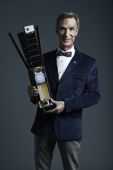 The Planetary Society's Chief Executive Officer Bill Nye holding the LightSail spacecraft. Credit: The Planetary Society