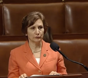 Rep. Susan Bonamici (D-Ore) speaking on the House floor during the June 2 debate of the chamber's 2016 Commerce, Justice, Science appropriations bill. Credit: SpaceNews screen capture of C-Span video