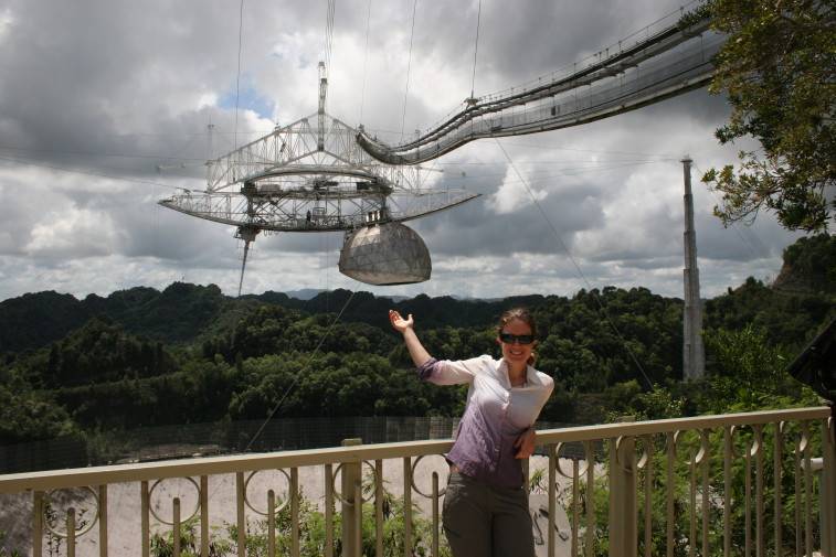 """Asteroid specialist and doctoral candidate Alessondra """"Sondy"""" Springmann at the Arecibo radio observatory in Puerto Rico. Credit: Alessondra Springmann"""