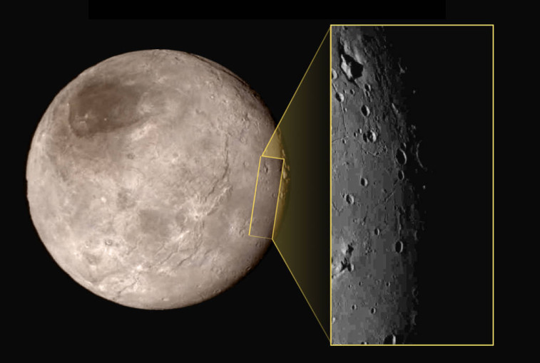 Charon and a detailed slice of its surface. Credit: NASA