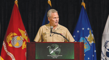 Navy Vice Adm. James Syring, the MDA's director, said the organization hopes to draft a preliminary RKV design, one that cobbles together the best ideas from three concepts submitted by industry, by the end of the year. Credit: C. Shamwell