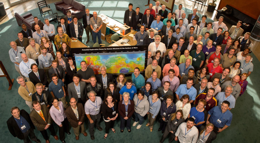 Group photo of attendees of the First Landing Site/Exploration Zone Workshop for Human Missions to the Surface of Mars. Credit: NASA/Bill Ingalls