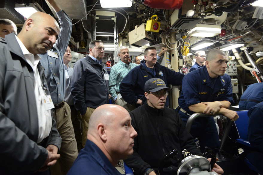 U.S. lawmakers, including Sen. Joe Donnelly (D-Ind.), center above, onboard the USS Kentucky submarine to observe a Nov. 7 test launch of a Trident 2 5A missile. Credit: U.S. Navy/ Byron C. Linder