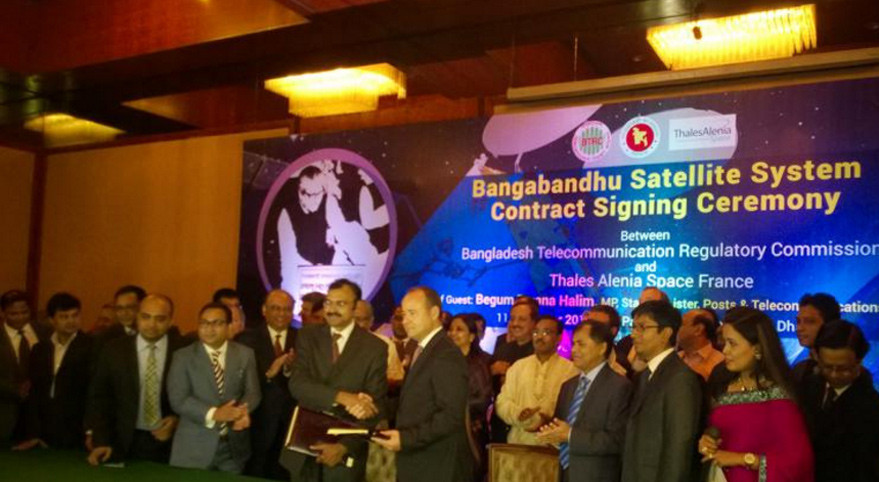 Bangladeshi and Thales Alenia Space officials celebrate the contract signing for the Bangabandhu-1 telecommunications satellite. Credit: TAS
