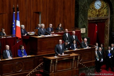 French President Francois Hollande addressed a joint session of parliament Nov. 16. Credit: Office of the French President