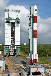 PSLV with Singapore's TeLEOS-1 on the launch pad. Credit: ISRO