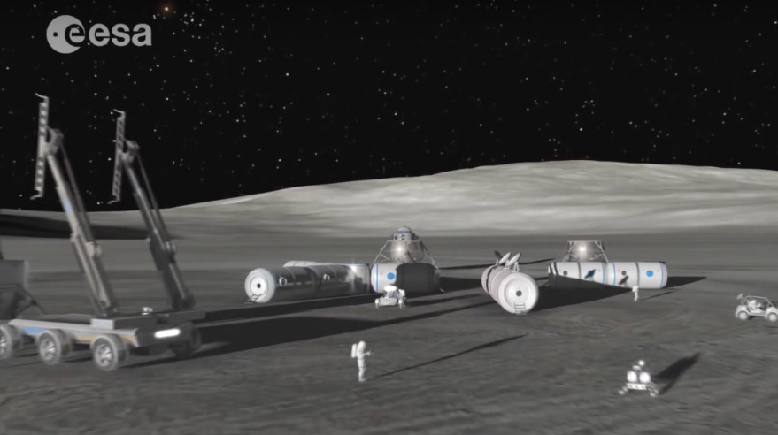 """A video still from ESA's """"The Moon Awakens"""" video outlining the agency's rationale for making the Moon """"our next destination on this journey."""" Credit: ESA/SpaceNews"""