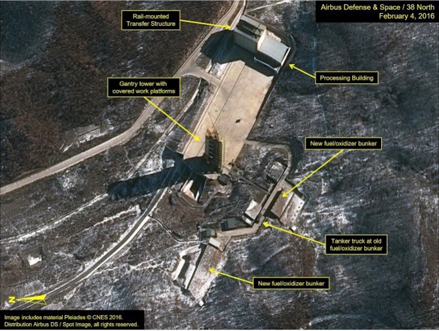 Airbus Defense & Space and 38 North satellite imagery from February 4, 2016 shows the Sohae Satellite Launching Station in North Korea in this image released Feb. 5. Credit: Airbus Defense &;Space and 38 North