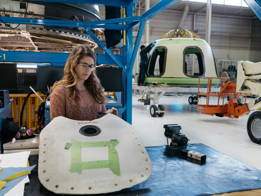 Photo released by Blue Origin to media organizations invited to tour the company's Kent, Washington factory March 8.
