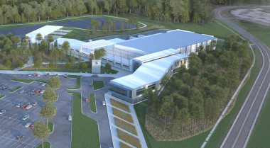 Artist's rendering of the factory OneWeb Satellites is building in Exploration Park, Florida. Credit: OneWeb