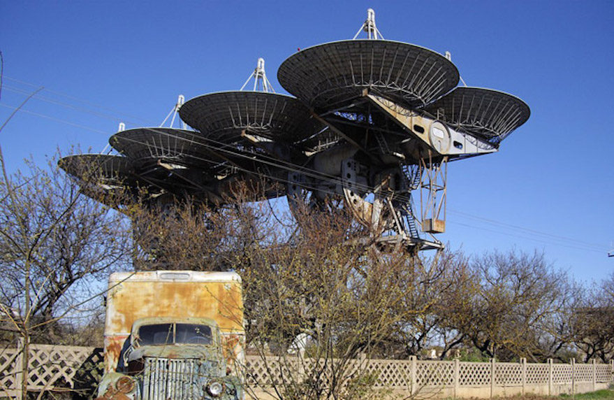 The NIP-16 ground station in Yevpatoria, Crimea, was built to communicate with deep space missions using, among other assets, this decommissioned ADU-1000 transmitting array consisting of eight 16-meter antennas. Credit: Rumlin / Wikicommons