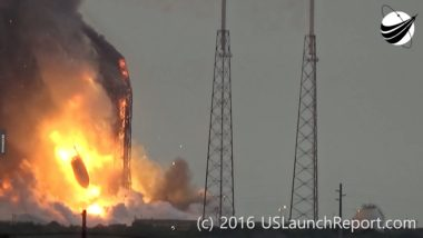 The payload fairing holding the Amos-6 satellite falls to the ground following the explosion of a SpaceX Falcon 9 that had been scheduled to launch Sept. 3. Credit: USLaunchReport.com video