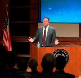 SpaceX CEO Elon Musk speaking with National Reconnaissance Office employees Oct. 13 at NRO headquarters in Chantilly, Virginia. Credit: NRO via Twitter