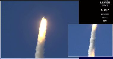 The New Shepard crew capsule fires its abort motor as planned during the Oct. 5 test flight. Credit: Blue Origin