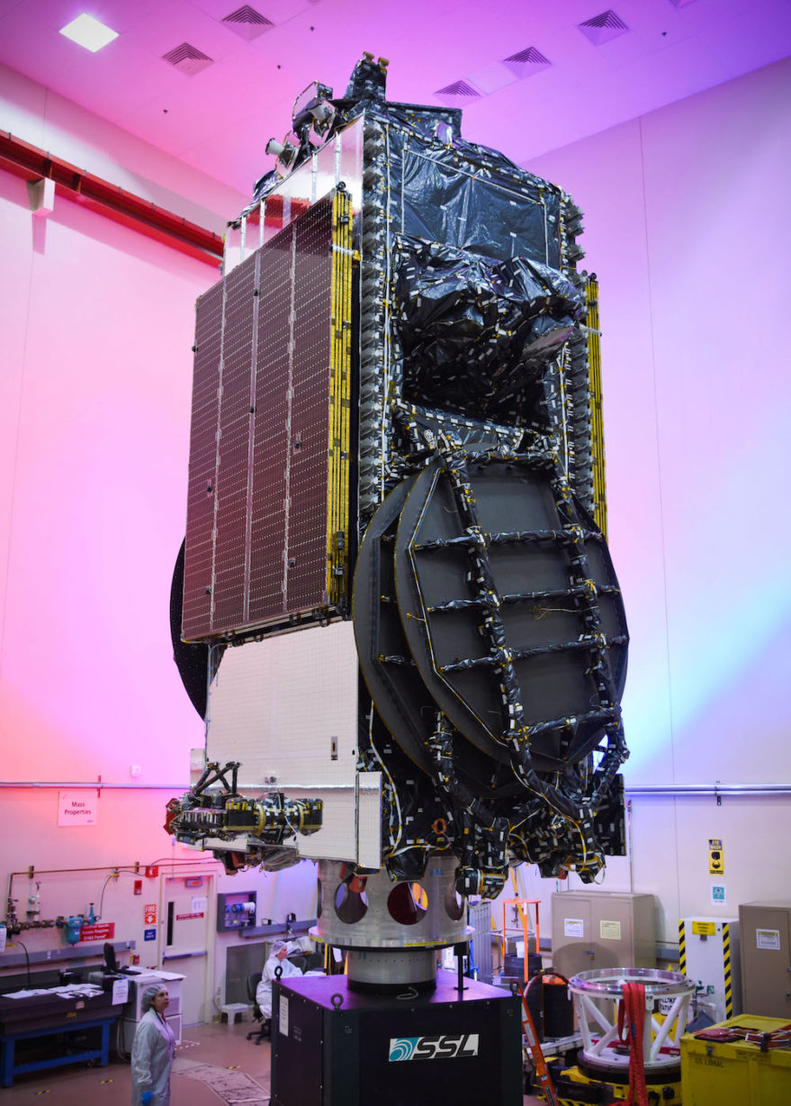 Echostar 19/Jupiter 2 — which reached Cape Canaveral Nov. 4 — is a Ka-band satellite that will use high-throughput spot beams to provide consumer broadband under the HughesNet brand. Credit: SSL