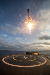 SpaceX's first previously flown Falcon 9 booster lands after launching SES-10. Credit: SpaceX
