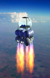 One of Armadillo Aeropspace's suborbital spacecraft concepts featured a fishbowl-like crew cabin.