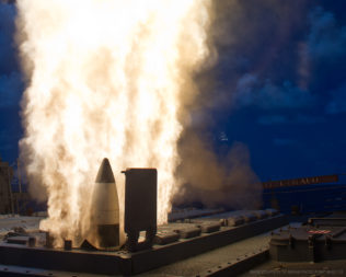 A Standard Missile (SM)-3 launches for a test from the USS Fitzgerald, a guided-missile destroyer equipped perform ballistic-missile defense that is now out of commission due to damage from a collision with a commercial ship. Credit: U.S. Navy