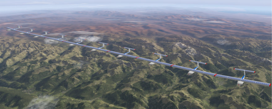 Berlin startup AlphaLink  is developing a solar-powered pseudo satellite that would consist of several small, unmanned aircraft connected at the wing tips. Credit: AlphaLink