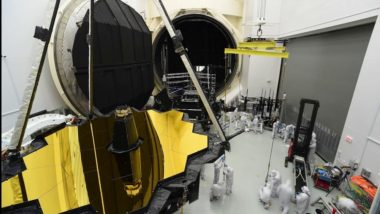 JWST exits its thermal vacuum chamber at Johnson Space Center after completing nine months of cryogenic testing. The nearly $9 billion telescope is not designed to be serviced in orbit. (Credit: NASA Goddard)