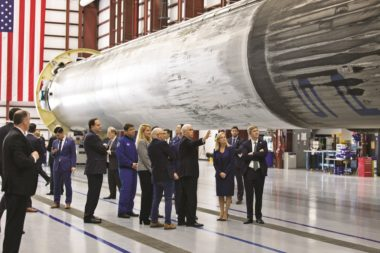 U.S. Vice President Mike Pence gets a close look at a recovered Falcon 9 booster during a February visit to Kennedy Space Center, Florida, for the National Space Council's second public meeting. Credit: NASA