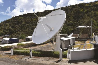 St. Helena relies on this C-band dish to connect to the internet via the Intelsat 23 satellite. Credit: St. Helena Independent