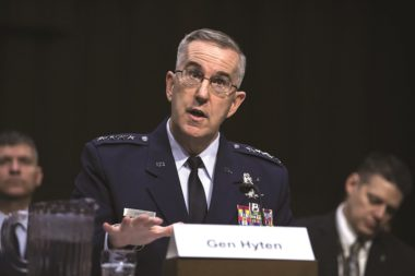 U.S. Air Force Gen. John Hyten testifies March 20 before the Senate Armed Services Committee. Credit: DoD/EJ Hersom