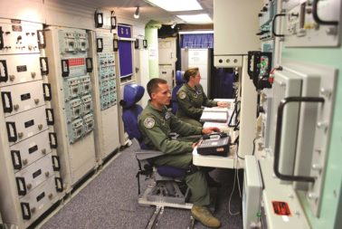 """Minuteman 3 launch control centers, built in the 1960s, aren't exactly state of the art — but they are very secure against cyber attacks. """"When you bring on all the new systems…all are going to come in with a new command-and-control architecture. They are not going to build the '60s architecture,"""" Hyten says. Credit: U.S. Air Force/Josh Aycock"""