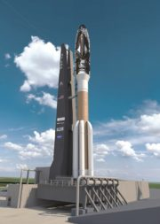 """Dream Chaser, shown here atop an Atlas 5, is being designed to be """"rocket agnostic."""" """"We are working with many launch providers and they are coming up with very affordable new launch vehicles in the 2021 timeframe,"""" says SNC President Eren Ozmen. Credit: Sierra Nevada Corp."""