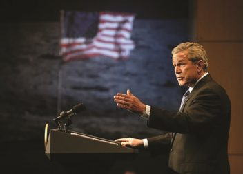 """""""With the experience and knowledge gained on the moon, we will then be ready to take the next steps of space exploration: human missions to Mars and to worlds beyond."""" U.S. President George W. Bush,announcing the Vision for Space Exploration. Credit: NASA"""