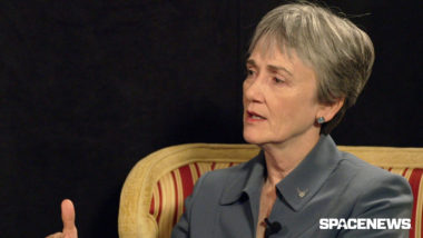 U.S. Air Force Secretary Heather Wilson in conversation with SpaceNews at the 34th Space Symposium on April 18, 2018. Credit: SpaceNews
