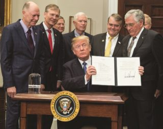 """Dec. 11, 2017: """"This time, we will not only plant our flag and leave our footprints — we will establish a foundation for an eventual mission to Mars, and perhaps someday, to many worlds beyond."""" U.S. President Donald J. Trump,upon signing Space Directive-1. Credit: NASA"""