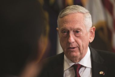 """""""We're not going to have more papers, we're going to move."""" James Mattis, U.S. Secretary of Defense Credit: U.S. Air Force photo by Wayne A. Clark"""