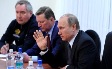 Russian President Vladimir Putin, right, with his then-deputy prime minister Dmitry Rogozin, far left, at Vostochny Cosmodrome following the space center's scrubbed inaugural launch in April 2016. After Putin scolded his space officials for a pattern of failures and delays, a Soyuz 2.1a rocket carrying an astronomy satellite lifted off the next day. Credit: TASS VIA KREMLIN.RU