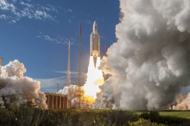 An Ariane 5 rocket lifts off July 25, 2018 from Kourou, French Guyana, carrying four Galileo satellites. Credit: Arianespace