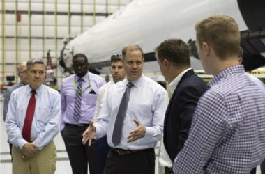 NASA Administrator Jim Bridenstine, center during a visit SpaceX's facilities at Kennedy Space Center, established a new advisory committee that will study potential obstacles to commercial cooperation. Credit: Kim Shifflet for NASA