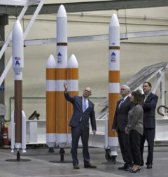 From the left, United Launch Alliance president and CEO Tory Bruno shows U.S. Vice President Mike Pence, his wife, Karen Pence, and then NASA Acting Administrator Robert Lightfoot around the ULA Horizontal Integration Facility at Cape Canaveral Air Force Station in Florida in February. Credit: NASA