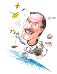 Retired NASA senior scientist Donald Kessler, shown here in a 1996 caricature, predicted in 1978 that orbital debris could cause a cascade of collisions. Credit: Pat Rawlings caricature courtesy of Donald Kessler