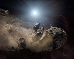 An artist's impression of an asteroid breaking up. Credit: NASA
