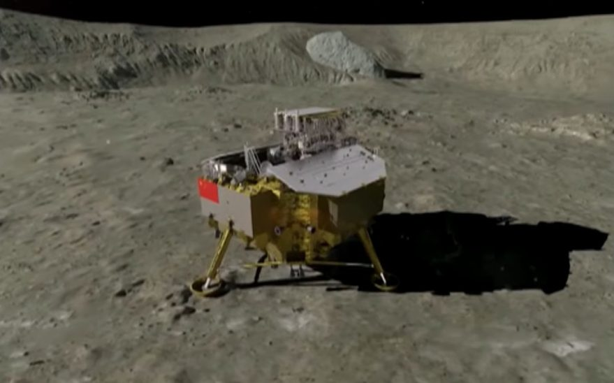 Render of the Chang'e-4 lander, with rover on top, on the lunar surface. Credit: Framegrab/CCTV/CNSA