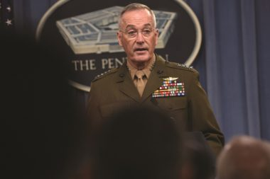 The chairman of the Joint Chiefs of Staff, Marine Corps Gen. Joseph F. Dunford, showing speaking Aug. 28 at a press conference at the Pentagon, has said future conflicts will be transregional, multidomain and multifunctional. Credit: DoD photo/Lisa Ferdinando