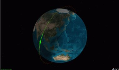 A cloud of orbital debris can be seen in this Analytical Graphics visualization depicting the immediate aftermath of a Chinese ground-launched missile destroying the Fengyun 1C weather satellite on Jan. 11, 2007. Credit: AGI